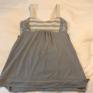 Grey and white lululemon cut out top. Size 6.